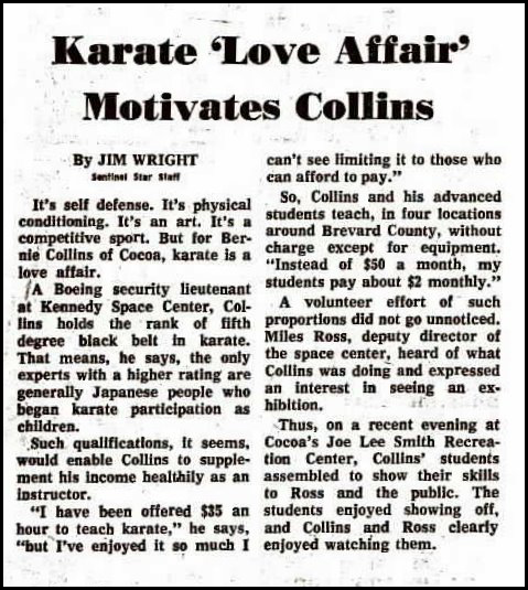 A short bio article from Jim Wright at the Sentinel Star about Dr. Collins work in martial arts.